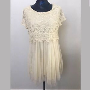 Cream embroidered and tulle dress